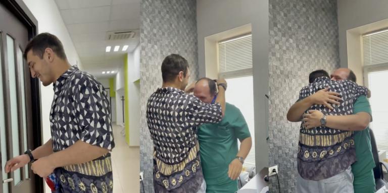 ლაშა ბექაურმა ოლიმპიური მედალი მკურნალ ექიმთან მიიტანა (ვიდეო)